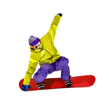 Polygonal icon of active man on snowboard isolated on white background. WPAP or low poly art style. Sport color vector illustration