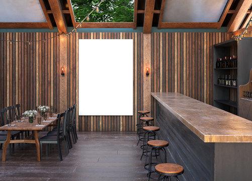 Mock up poster frame in cafe interior background, Modern outdoor bar restaurant, 3D render