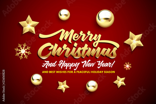 merry christmas and happy new year lettering with golden christmas stars and balls on a