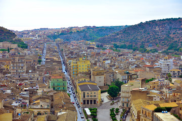 panorama of scicli, sicily, italy