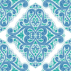 Green and blue vintage vector seamless pattern, wallpaper. Elegant classic texture. Luxury ornament. Royal, Victorian, Baroque elements. Great for fabric and textile, wallpaper, or any desired idea.