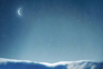 Winter snow and moon
