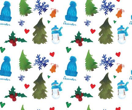 Christmas Seamless Pattern, Winter New Year watercolor theme.