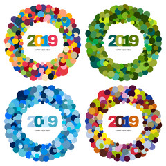 Set of four ring of multi-colored circles and the inscription Happy New Year