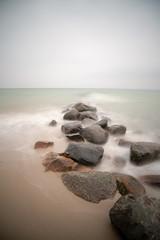 stones on the beach - longtime exposure