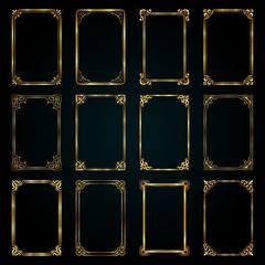 Decorative retro calligraphic frames in gold