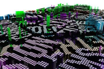 Shape composition, geometric structure, block for design texture, background. Colorful 3D rendering.