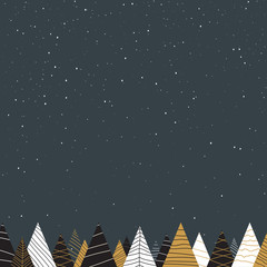 Grey background with creative fir trees and snow for Christmas and New Year design.