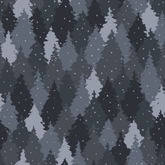 Seamless pattern with forest landscape, camouflage colors