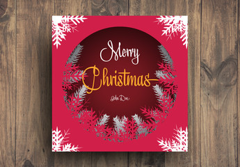 Christmas Card Layout with Snowflake Elements