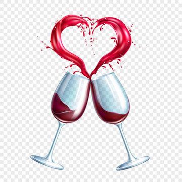 Vector wine glasses toasting heart shape splash