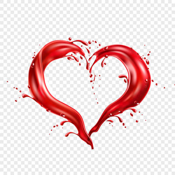 Vector red wine splash in heart shape