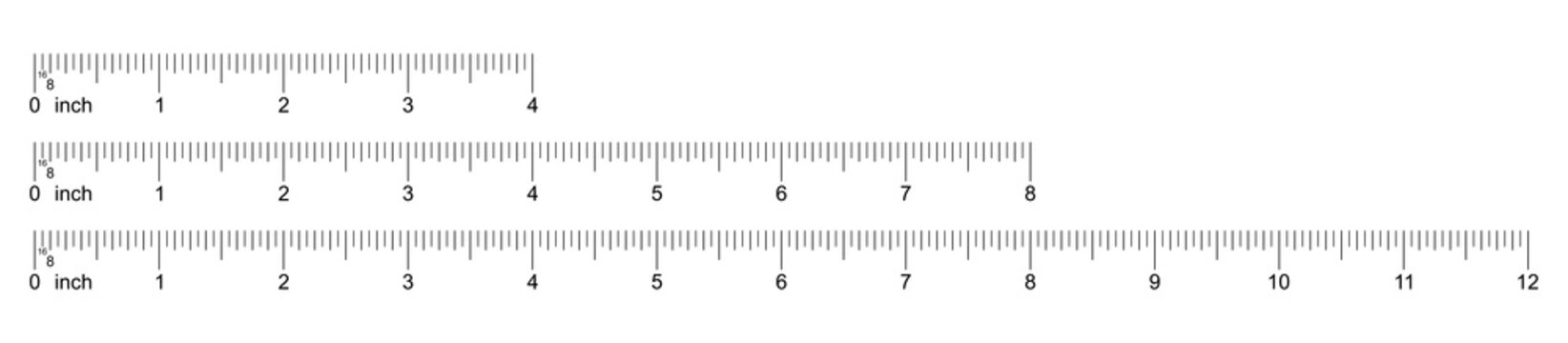 Ruler 4, 8, 12 inch. Set of ruler 4, 8, 12 inch. Measuring tool. Ruler inch scale grid. Size indicator units. Metric size indicators. Vector