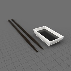 Sushi chopsticks and soy sauce