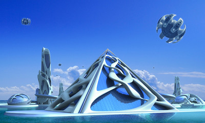 Fotomurales - 3D Futuristic city with organic architecture
