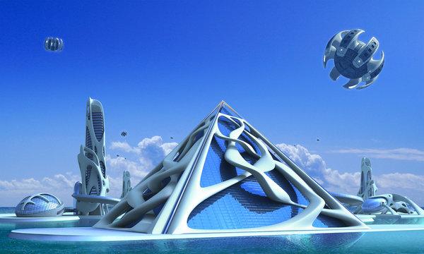 3D Futuristic city with organic architecture