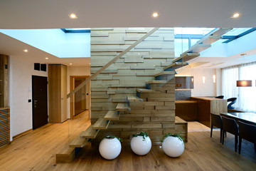 Glass staircase custom home build