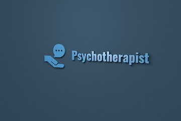 Text Psychotherapist with blue 3D illustration and dark background