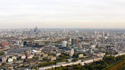 Aerial view cityscape of London with urban architectures. Icons of the London skyline feat residential neighborhood such as Euston, Fitzrovia, Marylebone with Central Famous Buildings in England, UK