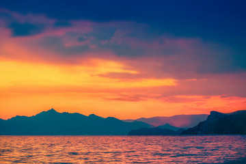 Sunset sea landscape. Scenic seascape nature
