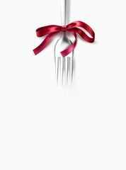 Vector silver fork with ribbon bow festive dinner