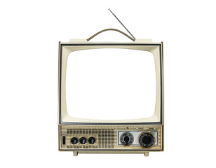 Grungy vintage portable television isolated on white with cut out screen.
