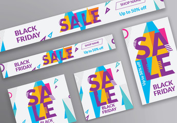 Sale Web Banner Layout with Colored Triangle Elements