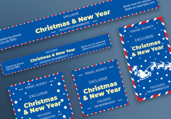 Christmas Web Banner Layout with Santa and Deer Elements
