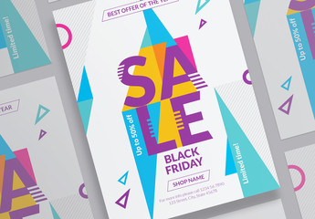 Sale Poster Layout with Colored Triangle Elements