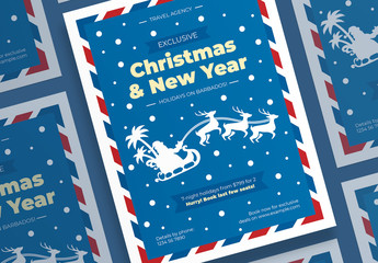 Christmas Poster Layout with Santa and Deer Elements