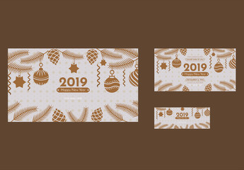 New Year Social Media Cover and Post Layout with Christmas Decoration Elements