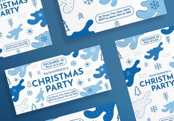 Christmas Flyer Layout with Snowflake and Christmas Tree Elements