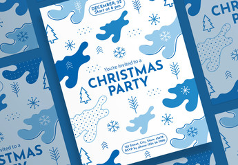Christmas Poster Layout with Snowflake and Christmas Tree Elements