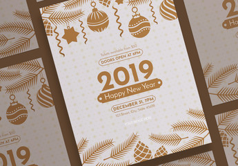New Year Poster Layout with Christmas Decoration Elements