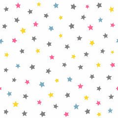 Repeated coloured stars. Cute seamless pattern for kids.