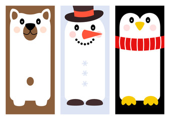 Set of winter holiday greeting card with cartoon different characters (bear, snowman, penguin). Frame for your text. Vector illustration
