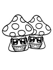 team 2 freunde paar nerd hornbrille geek gesicht lustig schlau intelligent freak pilz fliegenpilz rot punkte essen giftig lecker hunger drogen trip wald sammeln kochen clipart design comic cartoon