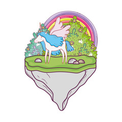 cute unicorn with rainbow in the landscape