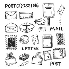 Drawing collection of postal objects and tools isolated on the white background. Sketch of mailing envelope, boxes, letters and stamps.