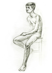 Academic figure drawing of a young guy