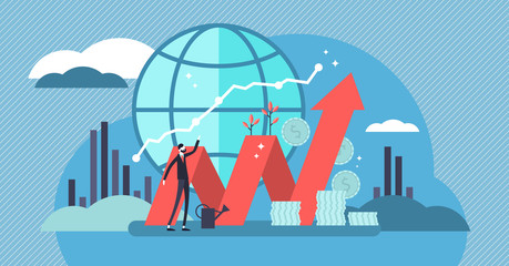 Stock market vector illustration. Flat mini money growth persons concept.
