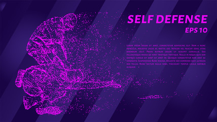 Self-defense of pink glowing dots. Particle self-defense. Vector illustration.