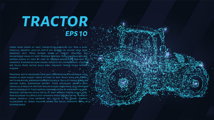 Tractor of blue glowing dots. Tractor of particles. Vector illustration.