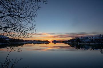 Cold winter sunset
