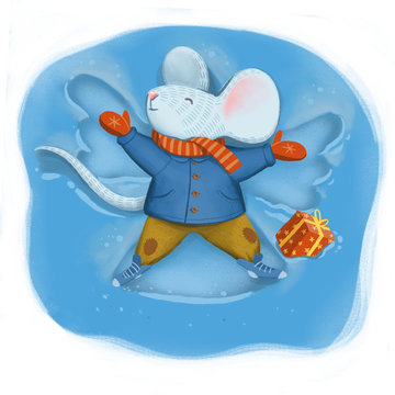 Digital illustration about a mouse in warm coat scarf and pants leys on snow and makes an angel figure