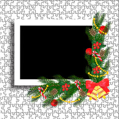 Christmas photo frame. Template of frame for festive photos with decorations.