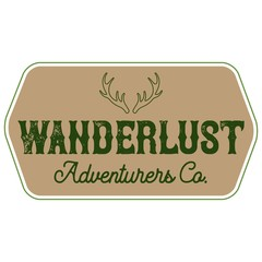 Vector Distressed Antlers Wanderlust Adventurers Company Logo Hexagon Patch in camouflage colors