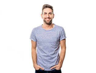 A guy in studio white background, great looking