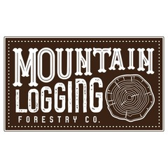 Vector Textured Retro Outdoor Mountain Logging Forestry Company Patch Logo in Brown and White