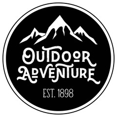 Vector Mountain Peak Distressed Outdoor Adventure Round Patch Company Logo in Black and White